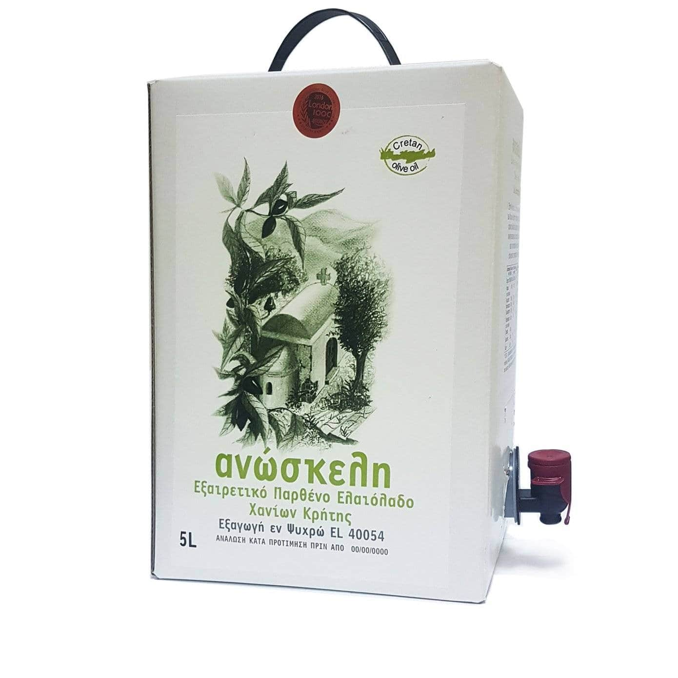 Масло оливковое Extra Virgin ANOSKELI Bag in Box 5л